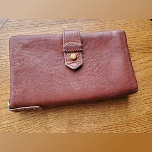 Fossil Whisky Brown Wallet/Wristlet Multi Section